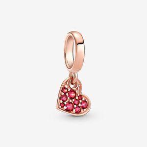 Pandora Red Pavé Tilted Heart Dangle Charm